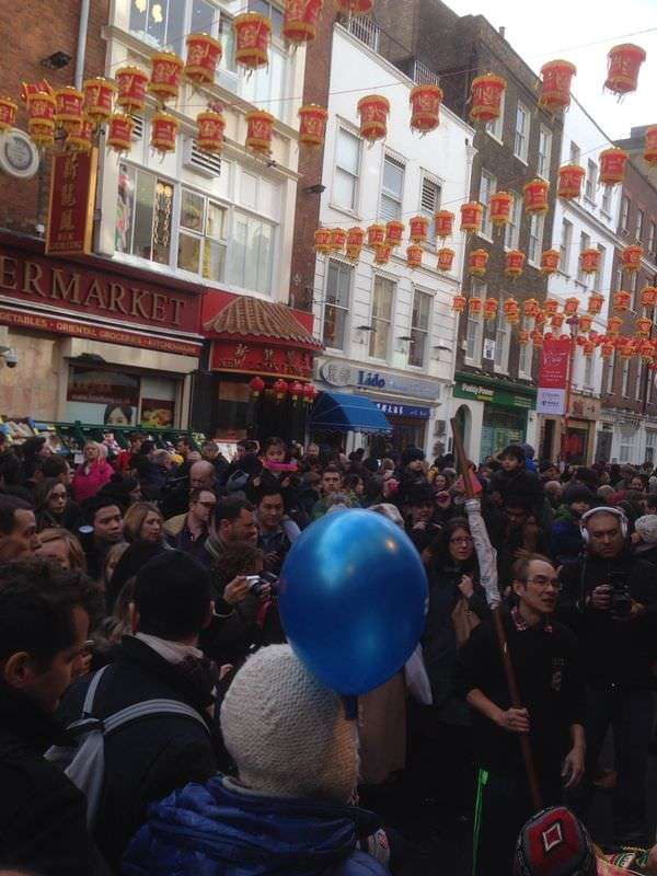 A packed Chinatown London Chinese New Year 2014