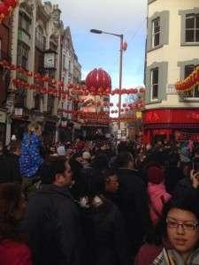 Chinese Lanterns above Chinese New Year crowd - chinatown