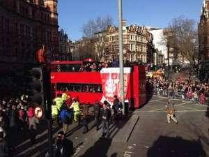 Chinese New Year 2014 - Bus Parade entering Shaftesbury Avenue